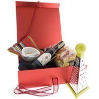 triple bottle hamper with ribbon