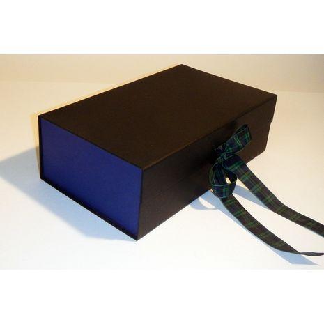 Black and blue hamper box with tartan ribbon