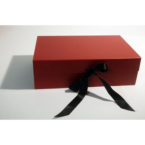 Black and red hamper box with ribbon