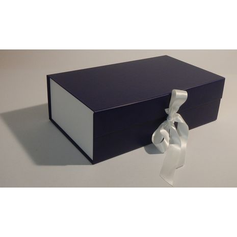 Blue and White Gift Box with Ribbon