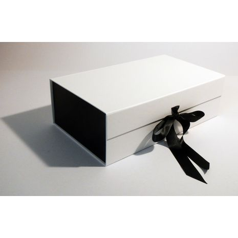 White and Black gift box with ribbon